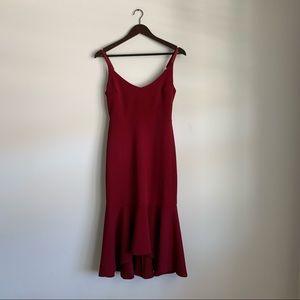 Lulus Burgundy Red Ruffle Midi Strappy Dress Small